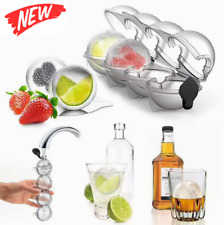 """2.2"""" Bar Silicone Ice Cube 4Ball Maker Mold Sphere Large Tray Whiskey DIY Mould"""
