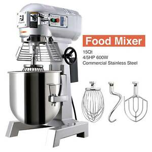 15L Commercial Dough Mixer Stand Planetary Food Bread Cake Hook Beater Whip 600W