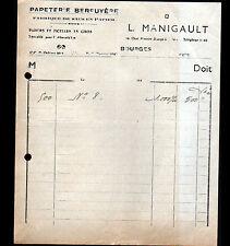"""BOURGES (18) USINE de SACS en PAPIER / PAPETERIE BERRUYERE """"L. MANIGAULT"""" en1940"""