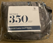 Wamsutta Sateen Sheet Set Full 100% Egyptian Cotton 350 Thread Count Gray