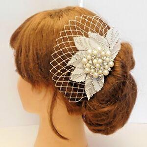 1920's fascinstor Boho Gatsby Wedding Lace Crystal Fascinator Bridal Hair Clip