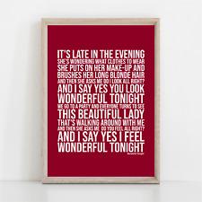 More details for eric clapton wonderful tonight song lyrics poster print wall art