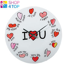 WALL CLOCK I LOVE YOU MULTI LANGUAGES MODERN ROUND HOME PLASTIC GIFT NOVELTY NEW