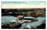 1910 Bird's-Eye View of Dam and Mill, International Falls, MN Postcard *5C