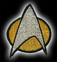 STAR TREK The Next Generation Iron-On Comm Badge Patch, Metal Gold/Silver Weave!