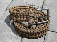 Paracord Survival Belt - Coyote Brown with Matte Nickle Buckle - S M L XL