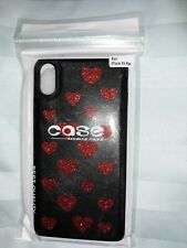 I Phone XS Max Black And Red Heart Plastic Phone Case