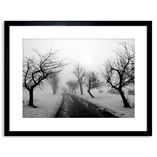 Photo Landscape Black White Snow Winter Tree Framed Print 9x7 Inch