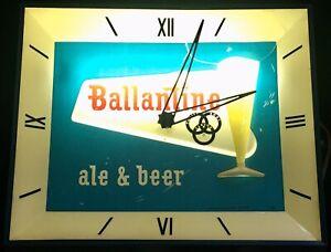 Vintage BALLANTINE ALE Lighted BEER SIGN Clock Metal Wall Display USA Union Made