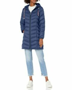 Tommy Hilfiger Women's Mid Length Chevron Quilted Down Hooded Jacket Sz LARGE