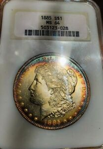 1885 MS64  Morgan Silver Dollar Coin.  TARGET RAINBOW TONINNG. 028