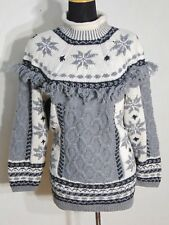Handknit NY Style Women's Fringed Fair Isle, Cable Knit HvyWeight Sweater Size S