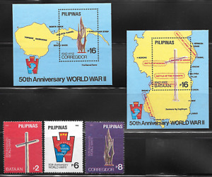 Philippines 1992 - 50th Anniversary  WWII souvenir sheets + stamps - MNH