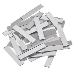 50X Glass Mirror Mosaic Tile Silver Strip Wall Stickers Home Decor Decal DIY Acc