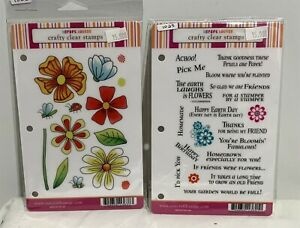 Our Craft Lounge PRETTY PETALS & Say It With Flowers Rubber Stamps Lot of 2