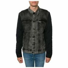 NEW MEN'S EZEKIEL BLACKHAWK JACKET DENIM CONTRAST QUILTED SLEEVE SIZE MEDIUM