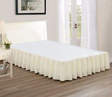 """Chezmoi Collection Solid Beige Ruffled 15"""" Drop Bed skirt Dust Ruffle, King"""