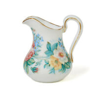 WEBB ATTRIBUTED FLORAL DECORATED WHITE GLASS JUG 19TH C.