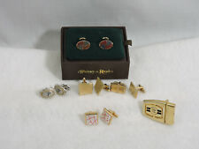 Vintage Lot of 5 Cuff Links Swank Whitney Rhodes 1 Italian Belt Buckle Gold Tone