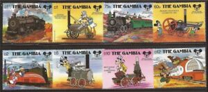 Gambia - 1987 Disney Mickey Mouse Anniversary - 8 Stamp Set - Scott #709-16