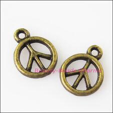 50Pcs Antiqued Bronze Tone Tiny Peace Charms Pendants 8x11mm