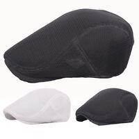 Men Solid Black White Mesh Ivy Peaked Hat Beret Cabbie Driver Baker Flat Cap