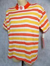 Nos Vintage 1980 Cristin Stevens Shoulder Pad Stripe New Wave Shirt Top Blouse L