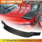 Carbon Fiber Rear Trunk Spoiler Boot Wing Lip For Mazda 6 Atenza Sedan 2014-2019