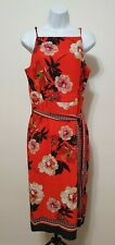 BNWT Oasis Red Scarf Print Midi Dress UK 12