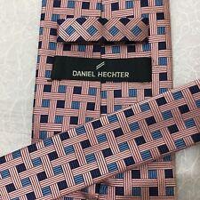 Mens DANIEL HECTOR Hand Made Silk 9cm BLUE PINK BASKET WEAVE PATTERN SILK TIE