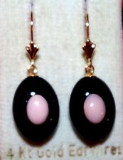 VINTAGE GORGEOUS GENUINE 14K BLACK ONYX  W ANGEL SKIN CORAL LEVER BACK EARRINGS