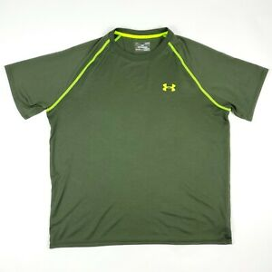 Under Armour Neon UA Logo Green Active Work Out Short Sleeve T Shirt Adult Large