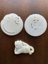 Antique Chinese White Jade Plaque Pendant Grouping Nicely Carved Nephrite Discs