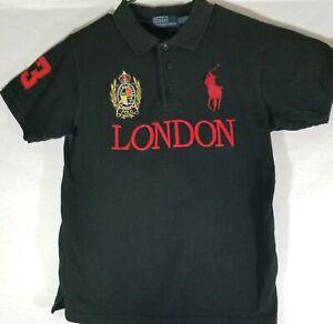 Polo Ralph Lauren Black Shirt London Big Logo Pony Men's Size Small Rare