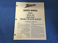 "VINTAGE ZENITH SERVICE MANUAL MODEL ""ROYAL 86"" SOLID STATE PORTABLE FM-AM-WB"