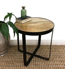TITAN INDUSTRIAL SIDE TABLE WINE COFFEE LAMP TIMBER TOP METAL ROUND HOME DECOR