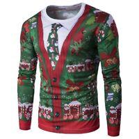 Men's Christmas Tree 3D Printing Long Sleeve Soft T-Shirt Tops Tee Xmas Shirts