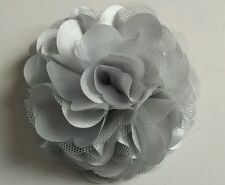 "Girls Womens 3""satin & Net Full Flower Hair Clip, Brooch, corsage SILVER GREY"