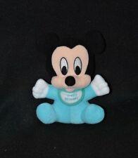 Peluche doudou Baby Mickey DISNEY TIGEX bleu blanc noir grelot 15 cm assis TTBE