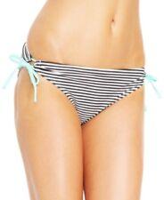 California Waves Junior Keyhole Side-Tie Bikini Bottom, Black/White, Large