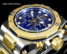 Invicta 52mm Akula Quartz Chronograph Blue Dial GoldTone Two Tone Bracelet Watch