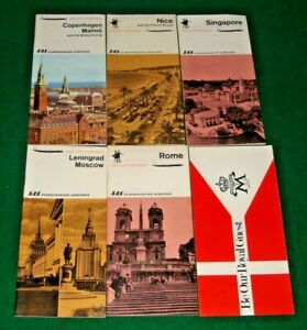 SAS Scandinavian Airlines vintage 1960's lot of 6 tourist guides hotel brochures