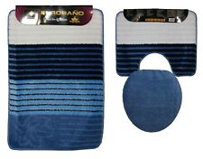 3tlg.  Badgarnitur in blau mehrfarbig Vorleger Bad / WC f. Stand  WC Deckelbezug