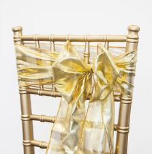 "Xmas Gold Metallic Sash  108"" x 08""  Christmas Decor Xmas Dinner Chairs"