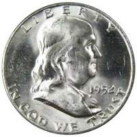 1952 D 50c Franklin Silver Half Dollar US Coin BU Uncirculated Mint State