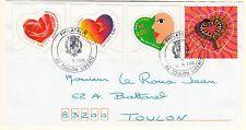 DEVANT DE LETTRE SERIE TIMBRE OBL FRANCE N° 3295 / 3298  SAINT VALENTIN