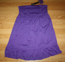 8ee9999cd9 NWT Womens NICOLE MILLER Dark Purple Stretch Swim Cover Dress Skirt S Small