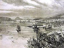 Island Town of St. Thomas ESCAPES HURRICANE 1871 Antique Art Print Matted