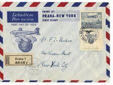 CZECHOSLOVAKIA 1946 FIRST FLIGHT AIR MAIL PRAGUE TO NEW YORK REGISTERED FDC