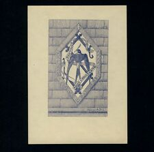 Exlibris Bookplate * HENRY ANDRÉ * Wappen Heraldik Falke Falcon Heraldry Crest